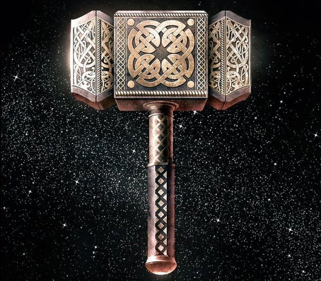 Thor's hammer on the cover art for the book, Norse Mythology, by Neil Gaiman